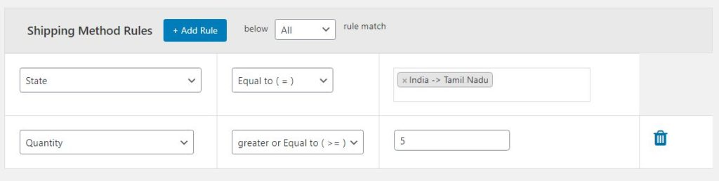 Figure 4: Adding the needed Shipping Method Rules for quantity