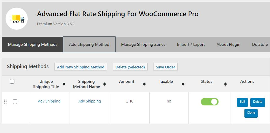 Figure 1: Main dashboard - List of shipping methods and links for all options of the plugin