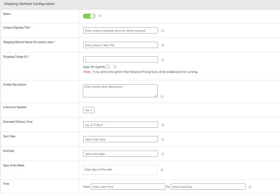 Figure 2: Shipping Method Configuration form (opened by clicking 'Add Shipping Method' option)