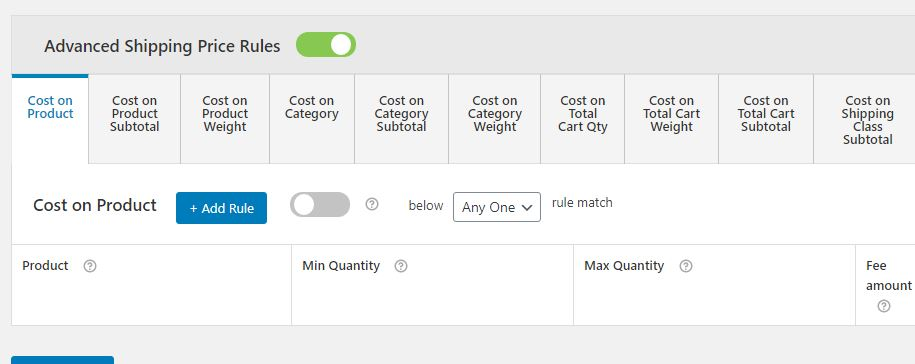 Figure 4: Advanced Shipping Price Rules – For creating Table Rate Shipping Methods