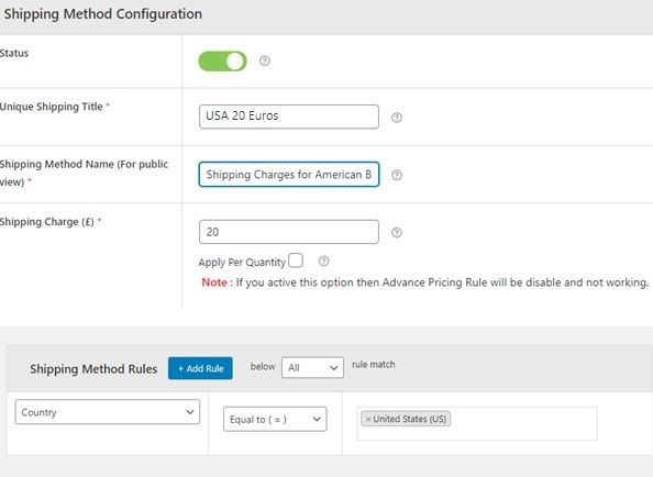 Figure 5: Creating a Shipping Method for the United States of America, Shipping Charge being £20