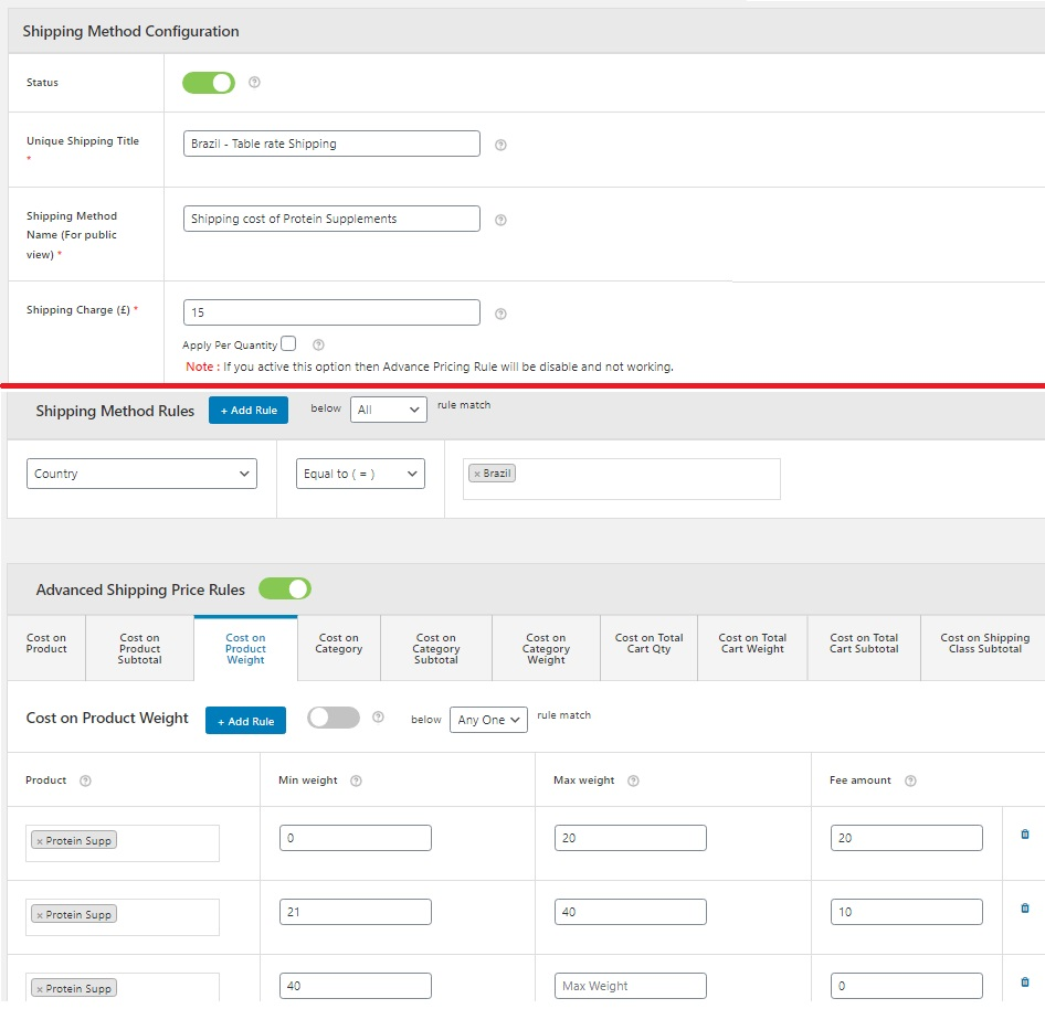 Figure 7: For Brazil, online shop has a table rate shipping method deployed