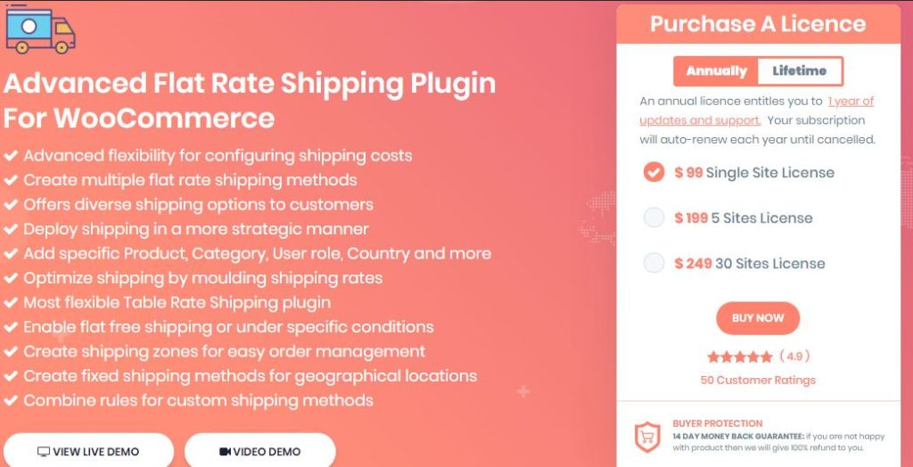 Figure 1: Advanced Flat Rate Shipping Plugin for WooCommerce Pro - Feature and Pricing