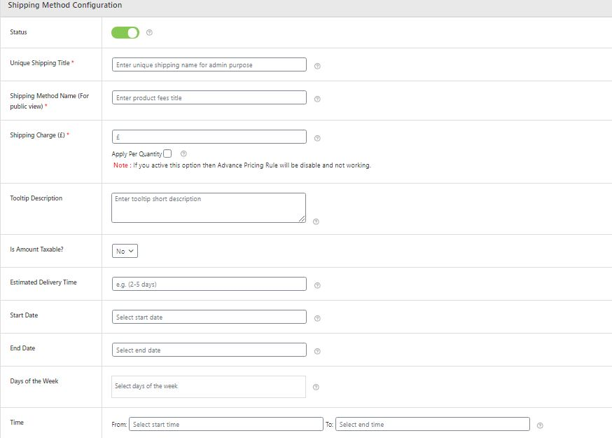 Figure 4: Shipping method Configuration & fields to fill in this section