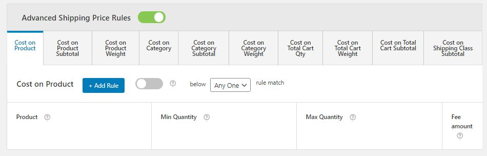 Figure 6: Section through which you can add multiple advanced shipping price rules
