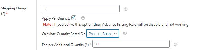 Figure 8: Shipping Charge - Apply per quantity