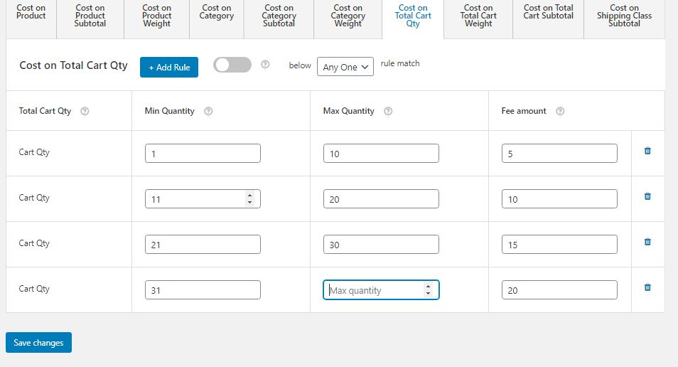 Figure 9: Table Rate Shipping Cost per Quantity in WooCommerce