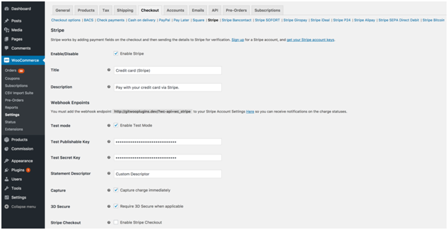 Figure 2 - Checkout-related Settings in Stripe Payment Gateway for WooCommerce