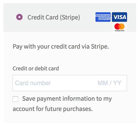 Figure 3 - Credit Card via Stripe - Testing the Configured Setup