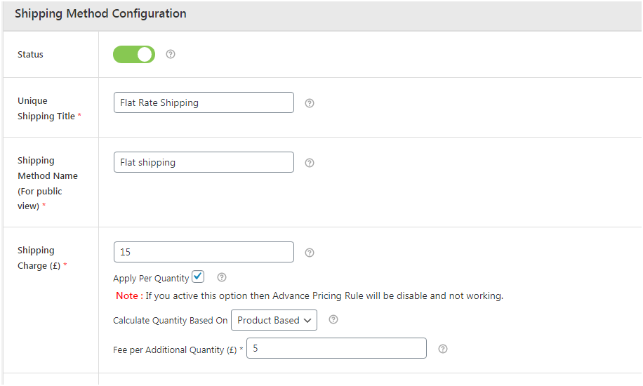 Figure 2 - Adding details in the Shipping method configuration section