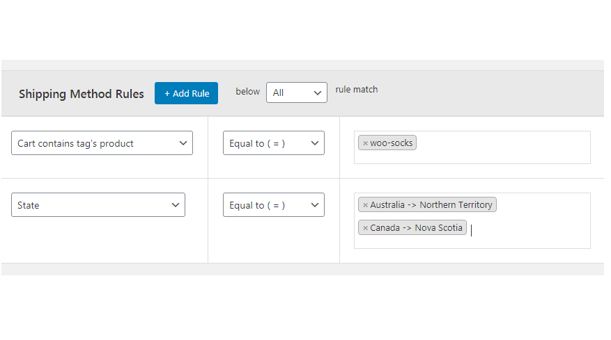 Figure 4: Adding Shipping method rules to apply conditions while charging shipping fee