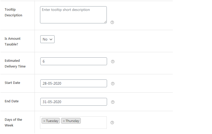 Figure 3: Adding delivery and other additional details in shipping method