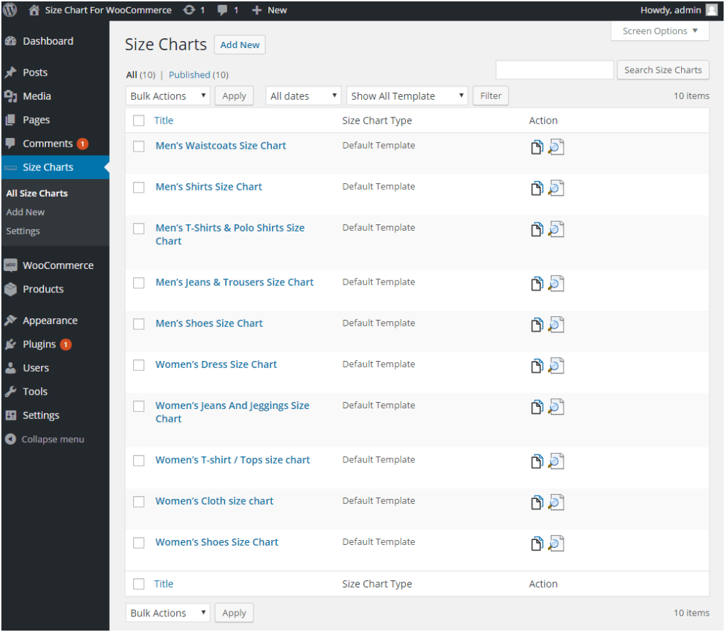 Figure 3: Multiple Size Charts with different Settings - Created using the Product Size Charts Plugin for WooCommerce
