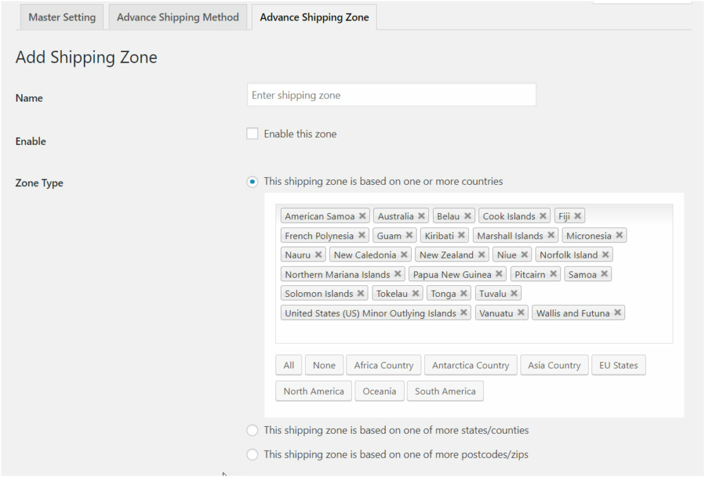 Figure 3: Adding Shipping Zone to Simplify Method creation for your common selling locations