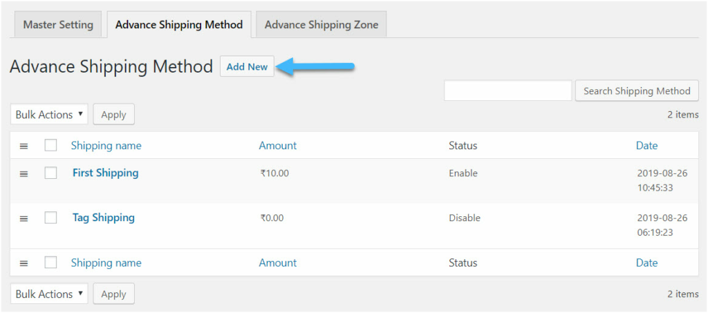 Figure 4: Creating Shipping Method using the Advanced Shipping Method Plugin for WooCommerce