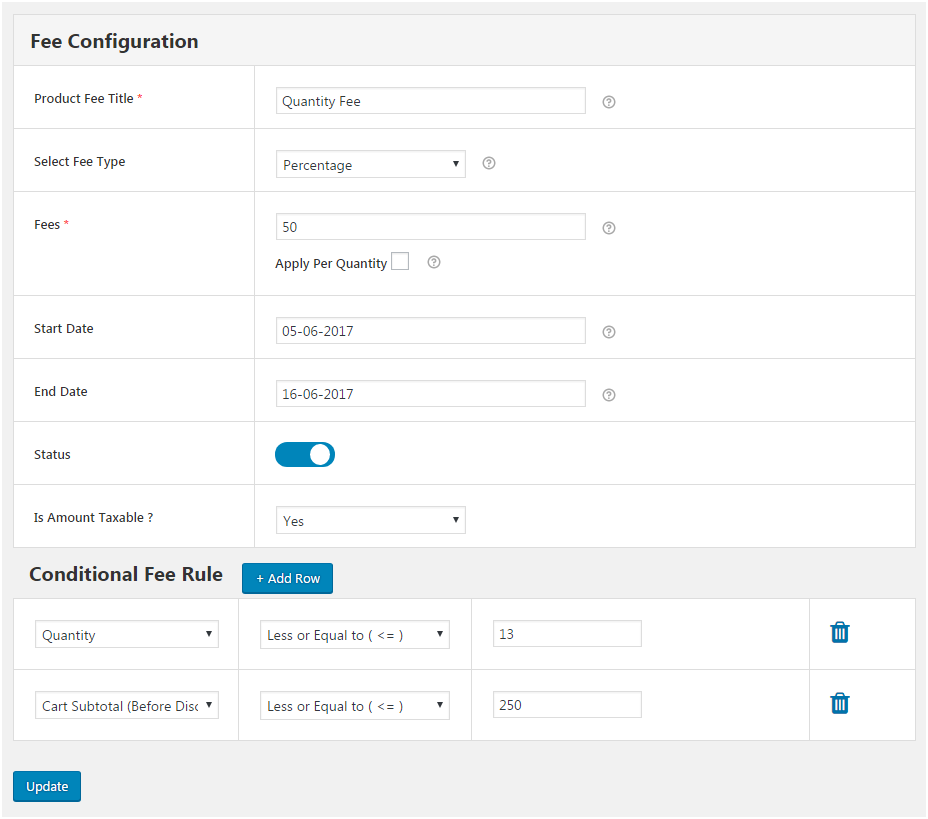 Figure 2: Form to add new Extra Fee to the WooCommerce Store