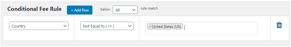 Figure 3: Adding Conditional Fee Rule related to Country while applying extra fee