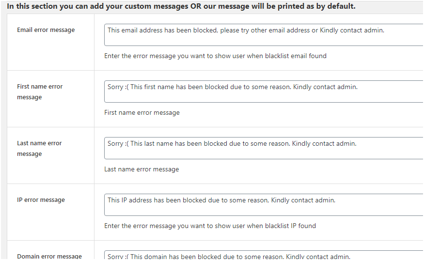 Figure 3: A few types of custom messages you may add to the WooCommerce store using Anti-fraud Plugin settings