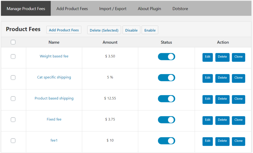Figure 2 - A few Types of Fees you may add to your WooCommerce store using Extra Fees Plugin