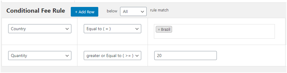 Figure 6 - Setting quantity-based rules for customers in Brazil