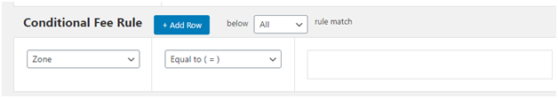 Figure 2 - Space for adding WooCommerce Extra Fee Based Rule for Zone