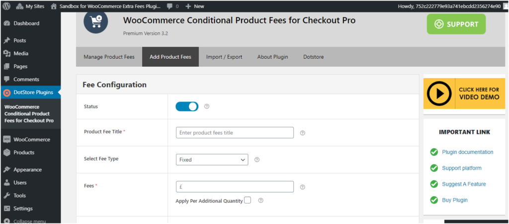Figure 2 - Fee Configuration form in WooCommerce Extra Fees Plugin