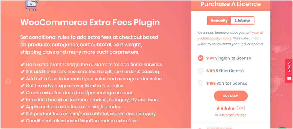 Figure 1 - WooCommerce Extra Fee Plugin or Conditional Fee for Checkout Plugin