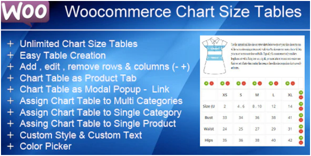 Plugin 4 - WooCommerce Product Size Chart Plugin - one of Top 15 WooCommerce size guide plugins