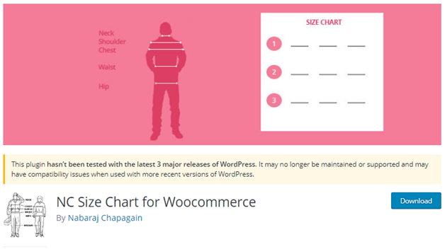 Plugin 14 - NC Size Chart for WooCommerce By Nabaraj Chapagain - one of Top 15 WooCommerce size guide plugins