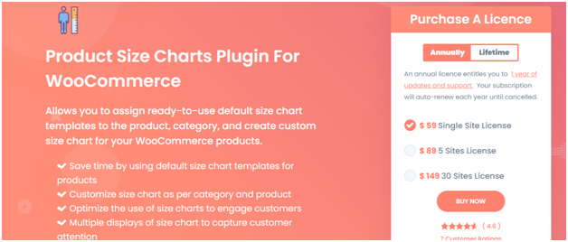 Figure 1 - Product Size Charts Plugin for WooCommerce