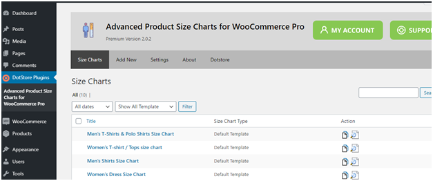 Figure 2 - The main dashboard screen for plugin - List of WooCommerce Size Guide already created