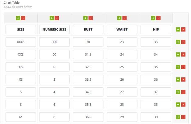 Figure 8 - An example WooCommerce Size Guide table with filled values