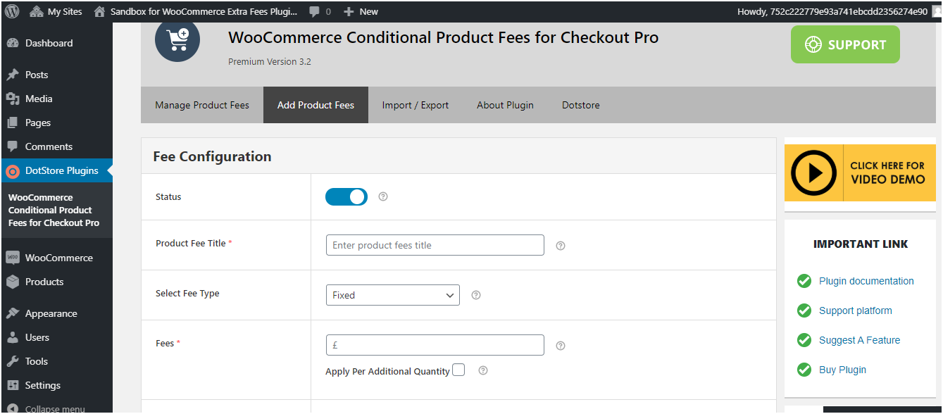 Figure 2 - Fee Configuration form that you need to fill, while adding new conditional fee