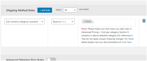 Figure 5 - Product name based shipping method rule