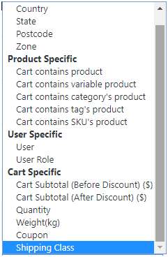 Figure 1 - Use Advanced Flat Rate Shipping Plugin to apply rates for these conditions & their combinations