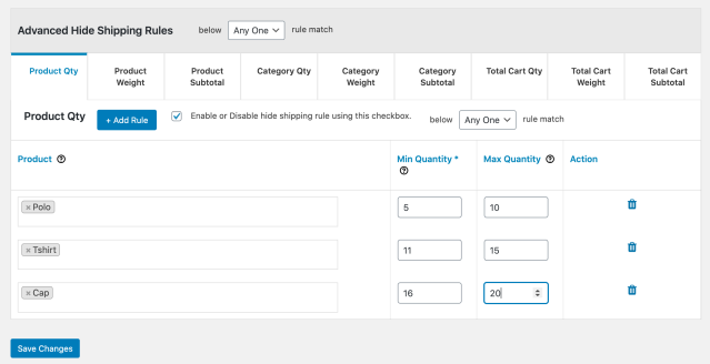 Advanced hide shipping rules for WooCommerce