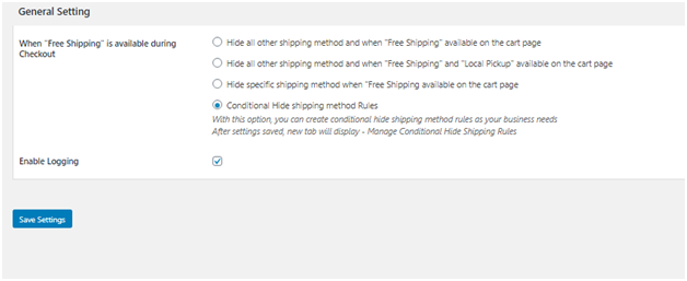 Figure 1: General Settings in Hide Shipping Plugin for WooCommerce