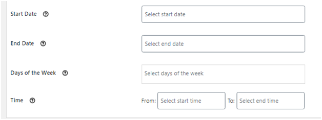 Figure 3: Specifying date, day and/or time for hiding the shipping methods