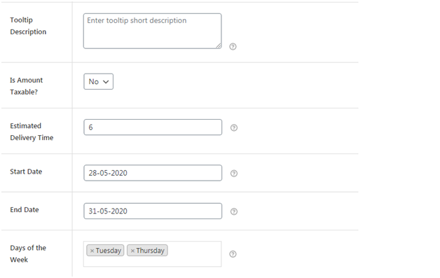 Figure 2 - Filling details related to your table rate shipping or flat rate shipping method