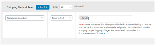 Figure 3: Applying Free shipping for one particular product type in WooCommerce