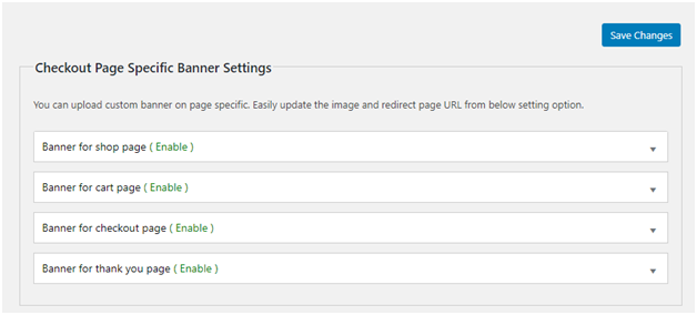 Figure 1 - Checkout Page Specific Banner Settings