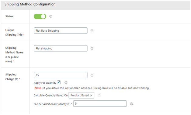 Figure 2 - Shipping Method Configuration - Advanced flat rate shipping plugin