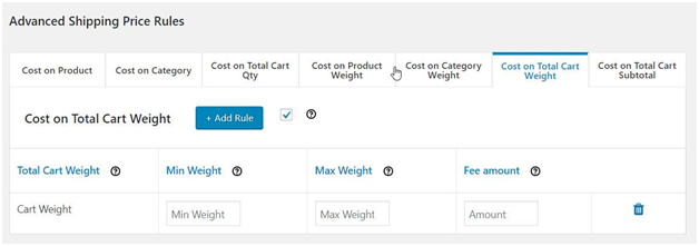 Figure 7: Advanced Shipping Price Rules