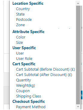 Figure 6: A few parameters with which you can apply free shipping for a specific product using Advanced Shipping Method for WooCommerce Plugin
