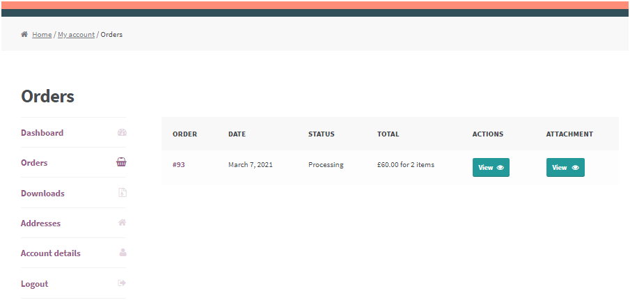 Figure 2: WooCommerce add attachment to order Listing Page – An example view of Order Details Page
