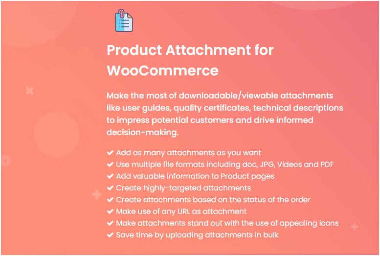 Figure 1 - The complete Feature List of the plugin we have selected for enabling WooCommerce email attachment