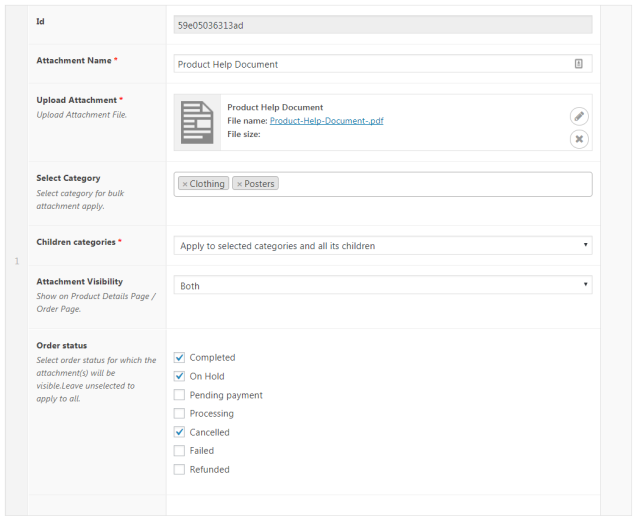 Selecting Categories, Products and Tags for Email Attachments