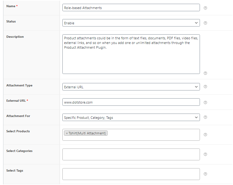 Figure 4 - Product attachment details, specify products, categories, tags and add file/link