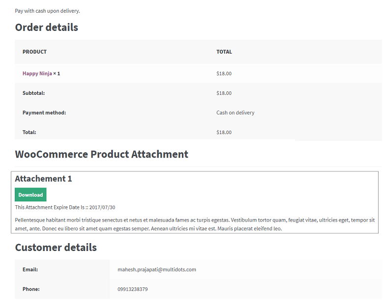 Figure 7 - An example for how a product attachment will look like on your order details page